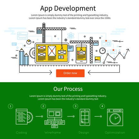 Two horizontal mobile line banner set with descriptions of app development and our process vector illustration