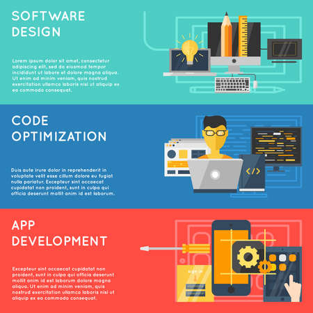 Horizontal program development banner set with descriptions of software design code optimization app development vector illustration