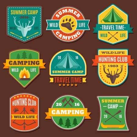 Summer camping colorful emblems with axe antlers boat tent animal track on brown background isolated vector illustration
