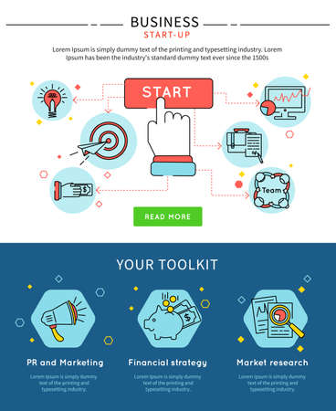 Startup business line banner set with descriptions of start your toolkit and buttons vector illustration Vektoros illusztráció