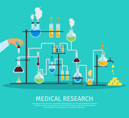 Colored chemistry lab flat poster with hand that holds the pipette conducting an experiment vector illustration
