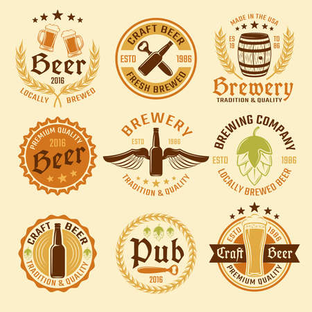 Colored beer emblem set with types of beer and production with premium quality vector illustration Vetores