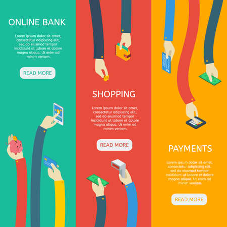 ATM usage isometric vertical banners with hands financial objects online bank shopping payments isolated vector illustration