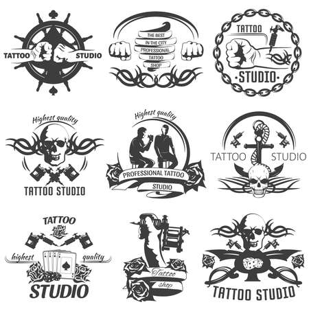 Tattoo studio black white emblems with master anchor rudder playing cards skull machine chain isolated vector illustration