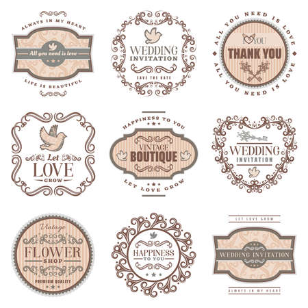Vintage romantic labels set with wedding invitation love amorous inscriptions pigeon ornamental frames and vignettes isolated vector illustration
