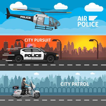 Three horizontal flat police banner set with descriptions of air police city pursuit and city patrol vector illustration Ilustración de vector