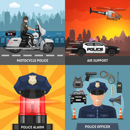 Four square colored police icon set with headlines motorcycle police air support police alarm and police officer vector illustration Ilustración de vector