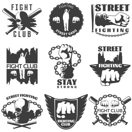 Street fighting black white labels with fists bats warrior skull chains wings cityscape isolated vector illustration
