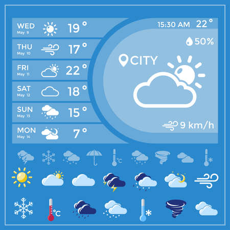 Weather forecast application with temperature for the whole week and icon set at the bottom vector illustration Vetores