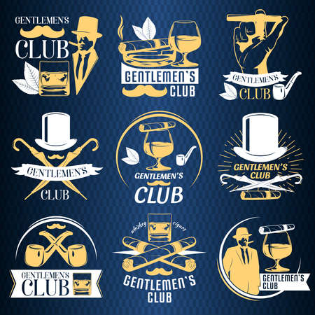 Colored gentlemen club label set with descriptions of gentlemen club and whiskey cigars vector illustration