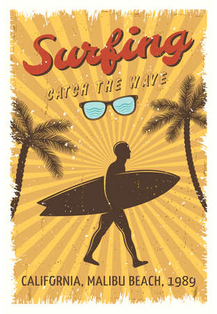 Surfing retro poster with man walking on the beach and headline surfing catch the wave vector illustration Vector Illustration