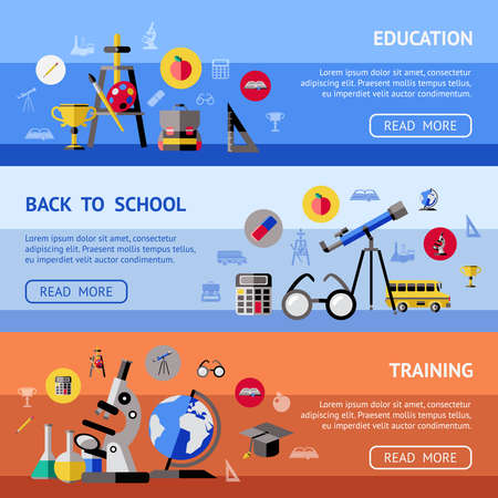 Three horizontal school banner set with headlines education back to school and training vector illustration