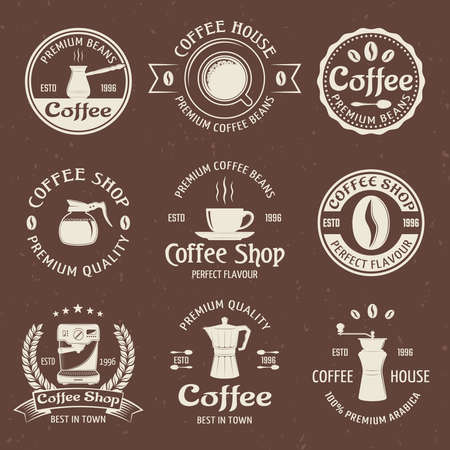 Coffee emblem set in color with coffee house premium quality and perfect flavor descriptions vector illustration