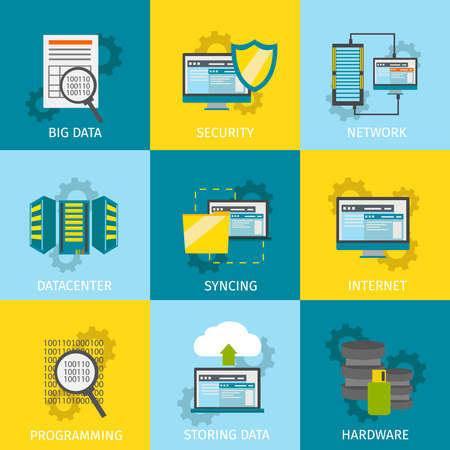Square datacenter line icon set with descriptions big data security network internet hardware programming vector illustration