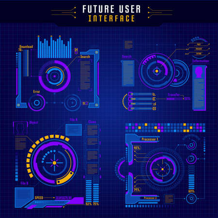 Four colored future user interface icon set with elements of innovation techniques vector illustration