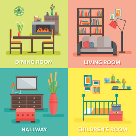 Interior colored compositions with four square isolated icon set on themes for every room in the house vector illustration Vektorové ilustrace