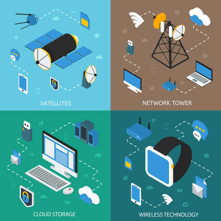 Wireless technology isometric concept with communication satellites network towers cloud storage digital devices isolated vector illustration Vecteurs