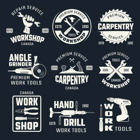 Work tools monochrome emblems with typographic letterings and carpentry instruments on black background isolated vector illustration Ilustração Vetorial