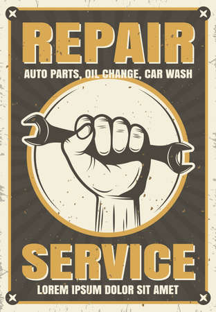 Repair service retro style poster with spanner in hand on white circle on worn background vector illustration