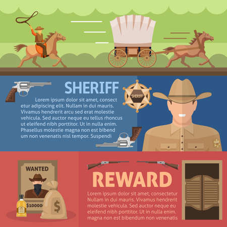 Wild west horizontal banners set with working cowboy sheriff and reward for catching criminal isolated vector illustration Vector Illustratie