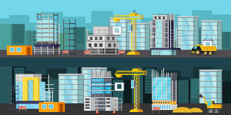 Horizontal orthogonal banners with building equipment on construction site at day and at night isolated vector illustration Vecteurs
