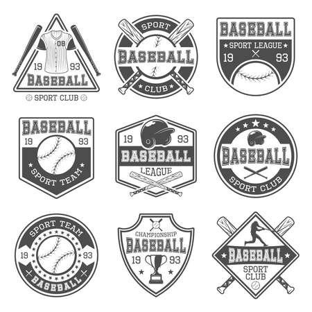 Baseball black white emblems of clubs and tournaments with batter sports outfit and trophy isolated vector illustration