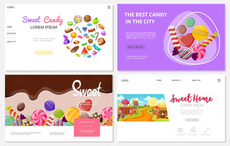 Flat sweets websites set with colorful chocolate caramel candies ice cream lollipops funny sweet houses vector illustration
