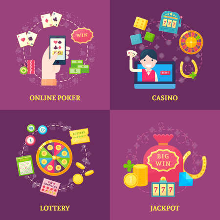 Square composition with lottery icons casino online poker decorative symbols in four compositions with text captions vector illustration