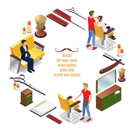 Isometric barber shop round concept with hairdressers customers interior elements combs razor brush scissors towels vector illustration