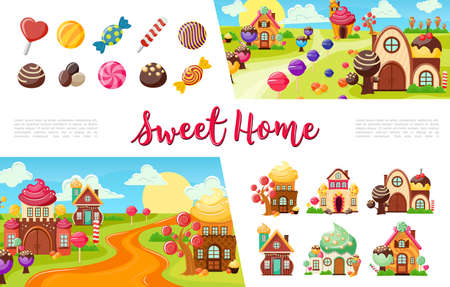 Flat sweets colorful collection with candies and lollipops of different shapes funny sweet houses vector illustration