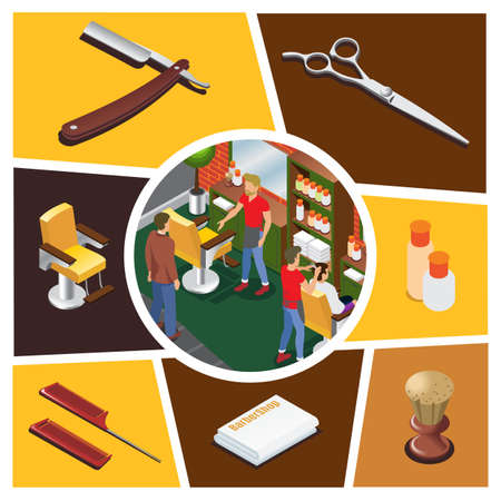 Isometric barber shop elements composition with hairdressers customers in barbershop scissors brush towels combs cosmetic bottles chair razor isolated vector illustration