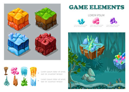 Isometric game landscape infographic concept with sand grass ice lava soils crystals minerals stones stalactites fantasy forest vector illustration