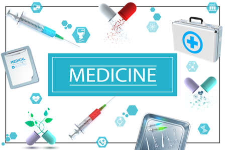 Realistic medicine concept with notepad capsules medical kit icons syringes and surgical instruments in metal sterilizer vector illustration Vecteurs
