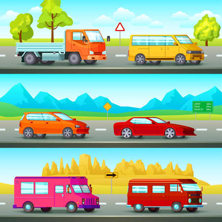Three horizontal city banners set with orthogonal cartoon images of suburban road scenery and passenger vehicles vector illustration