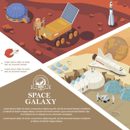 Isometric space research colorful template with astronauts cosmic bases and stations rover rocket shuttle on different planets vector illustration
