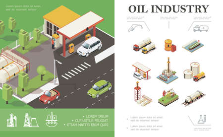 Isometric oil industry concept with cars on gas station trucks tanker water platform derrick drilling rig barrels cisterns canisters of petroleum vector illustration