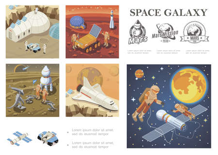 Isometric space exploration composition with shuttle satellite Mars colonization base lunar rover astronauts meeting with aliens cosmonauts in outer space galaxy labels vector illustration