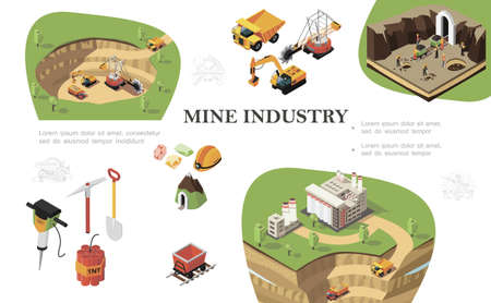 Isometric mining industry composition with industrial machines digging quarry miners working near mine factory drill pickaxe shovel dynamite trolley precious stones helmet vector illustration