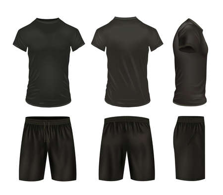 Black isolated shirts and shorts icon set realistic model views from different sides vector illustration Vecteurs