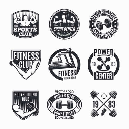 Nine isolated monochrome power fitness set with wealth muscles and barbell symbols with decorative captions vector illustration