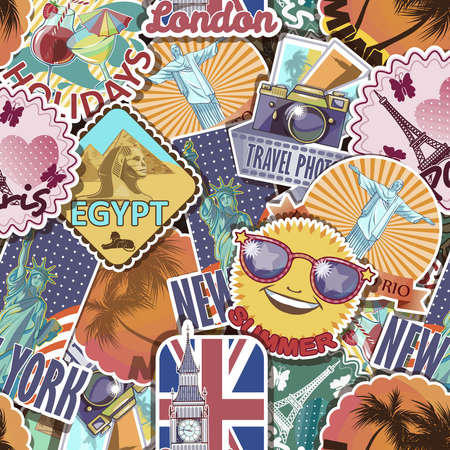 Colorful travelling pattern with stickers of various colour and shape with places of interest resorts sights vector illustration