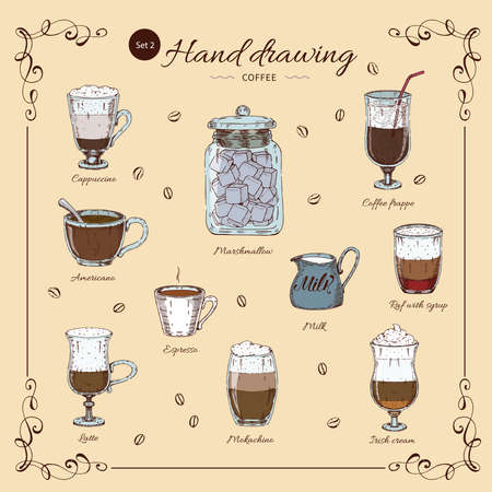 Coffee hand drawn colored set with decorative frame beverages in different glasses and cups isolated vector illustration Векторная Иллюстрация