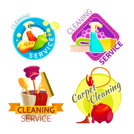 Colored cleaning service badge set with cleaning service and carpet cleaning descriptions vector illustration