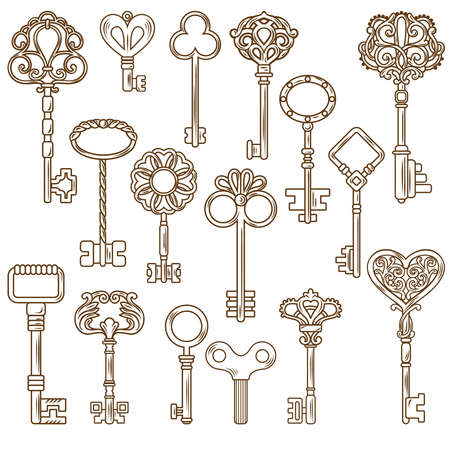 Retro style door and clock keys with outline and decorative pattern isolated on blank background flat vector illustration Vektorgrafik