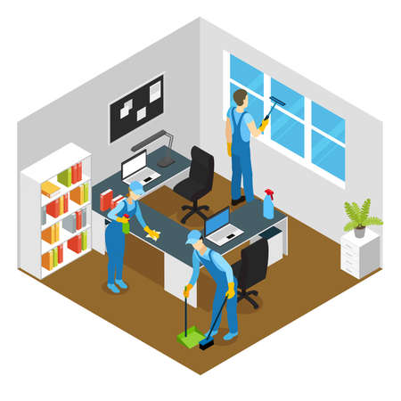 Office cleaning isometric composition with washing of working tables and window sweeping of floor vector illustration Vetores