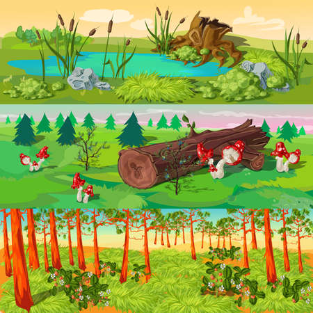 Forest horizontal banners set with pond and reeds spruces and mushrooms pines and strawberry isolated vector illustration
