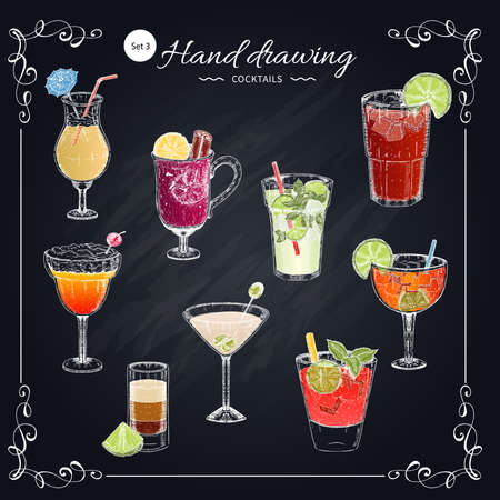 Colored cocktails hand drawn set including blue margarita on beach on texture chalkboard vector illustration