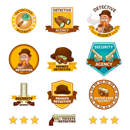 Detective agency emblems with private eye camera and binoculars gun and magnifier isolated vector illustration Ilustração Vetorial