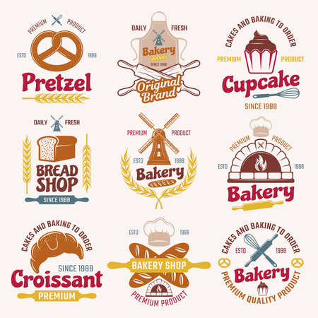 Flour products retro style emblems with typographic letterings mill bread and pastry chefs tools isolated vector illustration