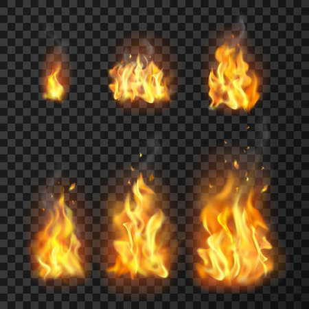 Set of realistic fire flames of various size with sparks on transparent background isolated vector illustration Vettoriali
